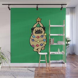 Pug Merry Christmas Wall Mural