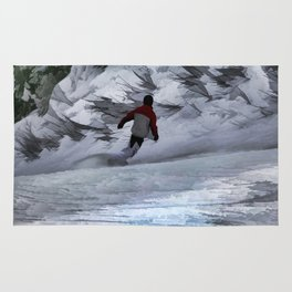 """Snowboarder """"Carving the Mountain"""" Winter Sports Rug"""