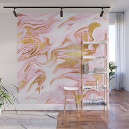 Rose Gold Marble Agate Geode Wall Mural