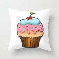 cupcake Throw Pillows featuring Cupcake by AnnaCas