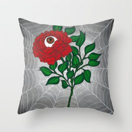 Caught -Eyeball Flower Throw Pillow