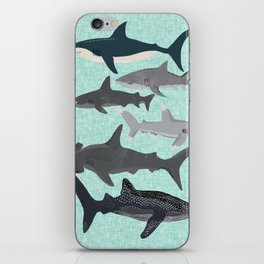 Sharks nature animal illustration texture print marine biologist sea life ocean Andrea Lauren iPhone Skin