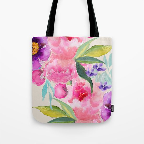 Floral white  Tote Bag
