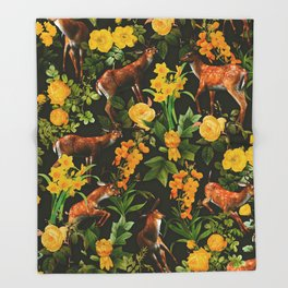 Deer and Floral Pattern Throw Blanket