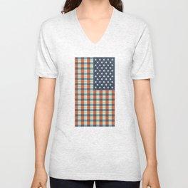 Plaid Flag. Unisex V-Neck