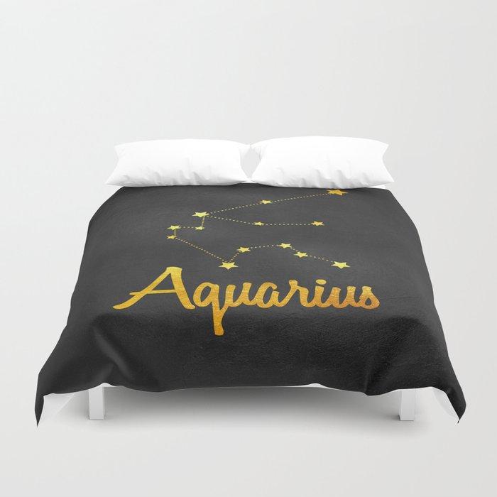 Aquarius Constellation Gold Duvet Cover