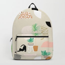 Mid Century Modern Yoga pattern with cats and plants Backpack