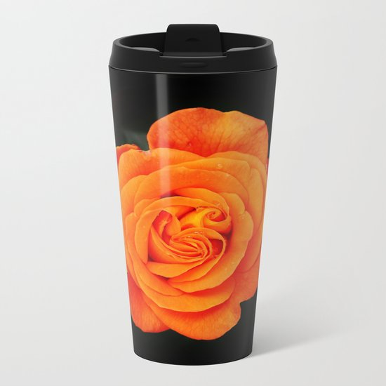 Romantic Rose Orange Metal Travel Mug