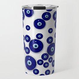 Greek Blue Glass Evil Eye Amulet Travel Mug