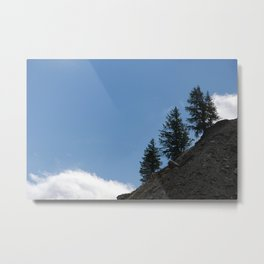 Fir Trees on Mountain Slope White Cloud Metal Print