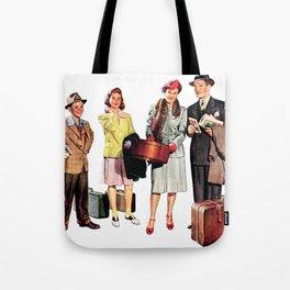 Vintage Illustration of a Traveling Family Tote Bag