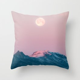 Moon and the Mountains – Landscape Photography Throw Pillow