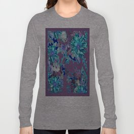 Aqua & Puce Color Tropical Flower Garden Pattern Long Sleeve T-shirt