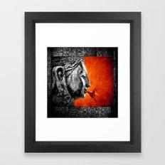 BUDDHA KISS - frame orange black version Framed Art Print