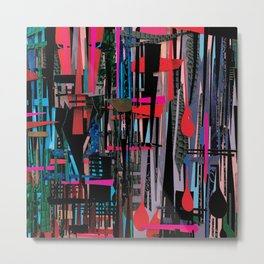 Stripes- Abstract Collage  Metal Print