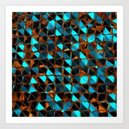 Gold and Blue Polygons K2 Art Print