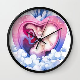 Watercolor baby in the heart Wall Clock