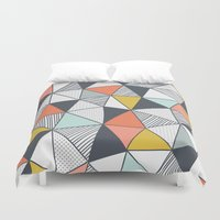 triangles Duvet Covers featuring Triangles by Patterns and Textures