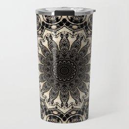 Neutral Abstract Black Ink Bohemian Mandala Travel Mug