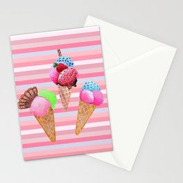 Ice cream stripes , pink, mint and aqua Stationery Cards
