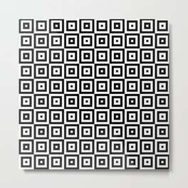 Black & White Geometric Square Pattern Metal Print