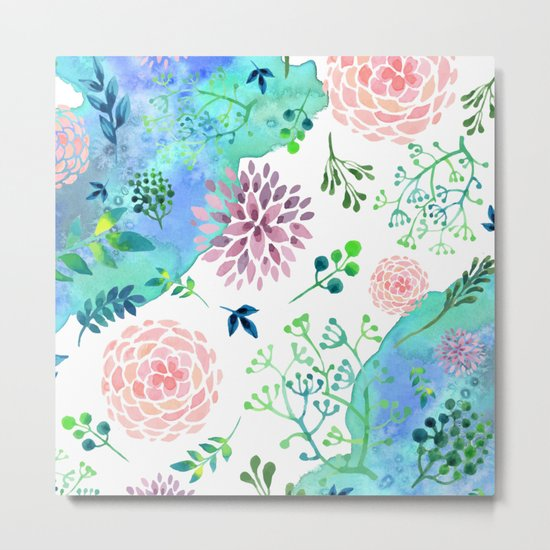 Watercolor Floral Pattern - WHEN AGATE MEET Metal Print