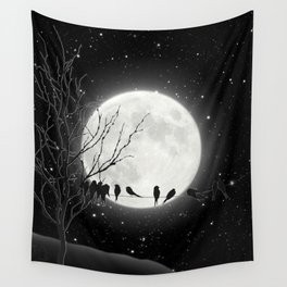 Moon Bath, Birds On A Wire Wall Tapestry