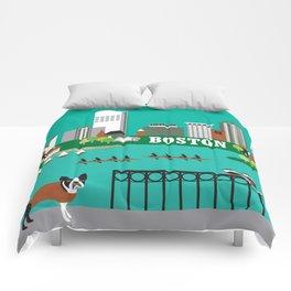 Boston, Massachusetts - Skyline Illustration by Loose Petals Comforters