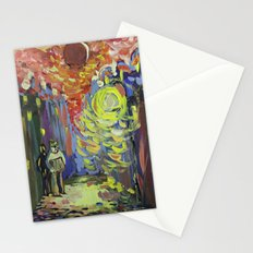 Loneliness under the street light Stationery Cards