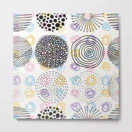 Black and colorful circles cute modern pattern Metal Print