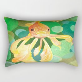 Vermilion Goldfish Swimming In Green Sea of Bubbles Rectangular Pillow