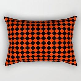 Black and Scarlet Red Diamonds Rectangular Pillow