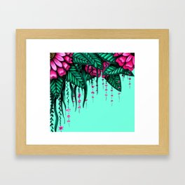 Beautiful Bold Pink Green Delicate Hanging Flowers Framed Art Print