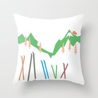 skiing Throw Pillows featuring Backcountry Skiing by LoveLoveMeDoDesigns