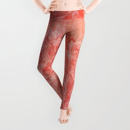 Coral grunge with white floral ornament Leggings