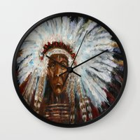 native american Wall Clocks featuring Native American by Mary J. Welty