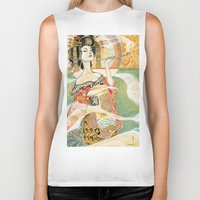 gustav klimt Biker Tanks featuring Klimt Oiran by Sara Richard