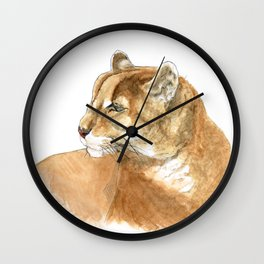 Sunbathing American Mountain Lion Wall Clock