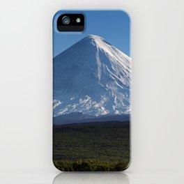 Stunning autumn view of active Klyuchevskoy Volcano on Kamchatka Peninsula on sunny day iPhone Case