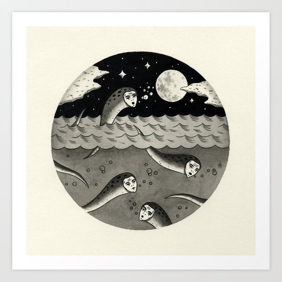 Convening on the Full Moon Art Print