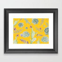 Cactus Watercolor Pattern VI Framed Art Print