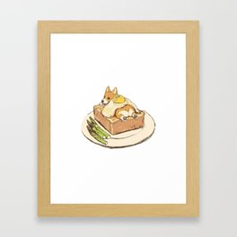 dog on sandwich Framed Art Print