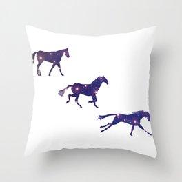 A Universe horse Runs_A Throw Pillow