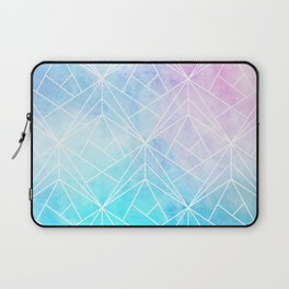 Geometric White Pattern on Watercolor Background Laptop Sleeve