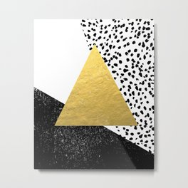 Rexa - gold abstract minimal tribal glitter triangle geometric art cell phone case brooklyn austin  Metal Print
