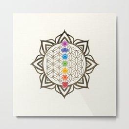 Flower of Life Chakra Healing Mandala Metal Print