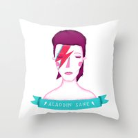 aladdin Throw Pillows featuring Aladdin Sane by Paula García