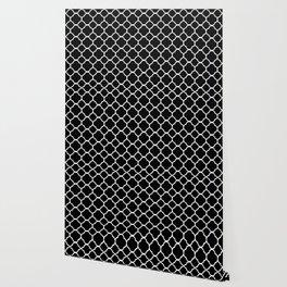 Black & White Moroccan Quatrefoil Design Wallpaper