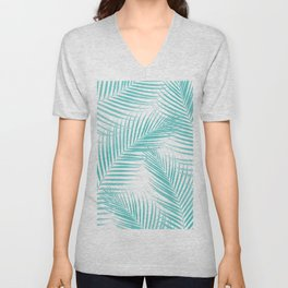 Soft Turquoise Palm Leaves Dream - Cali Summer Vibes #2 #tropical #decor #art #society6 Unisex V-Neck