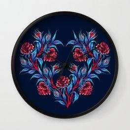 Roses - Dark Blue Red Wall Clock
